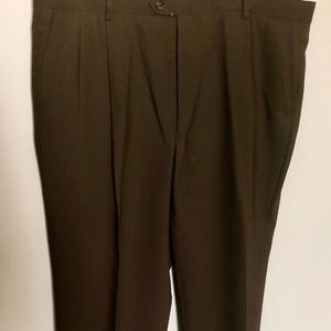 Pronto Uomo Dark Brown Pleated Front Cuffed Pant
